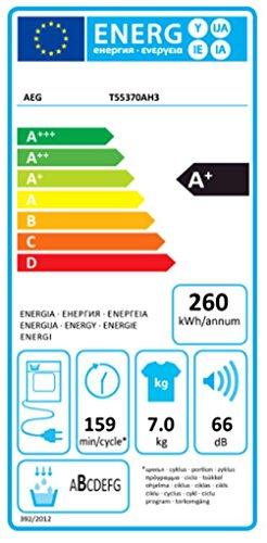 AEG Lavatherm T55370AH3 Wärmepumpentrockner / A+ / 260 kWh/ Jahr / 7 kg / weiß / Startzeitvorwahl / Einfache Filterreinigung -