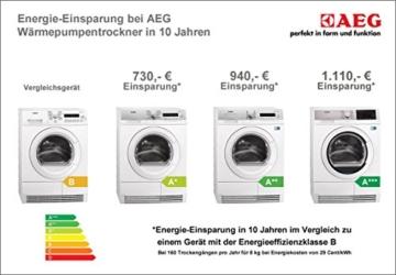 AEG Lavatherm T67680IH3 Wärmepumpentrockner / A+++ / 177 kWh/Jahr / 8 kg / Weiß / Wolle und Seide Programm / Einfache Filterreinigung -